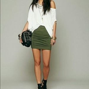 Free People Army Green Bodycon Mini-skirt Small